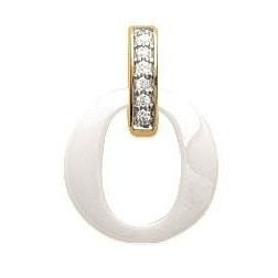Pendentif céramique, plaqué or, zircon pour femme - Oméga - Lyn&Or Bijoux