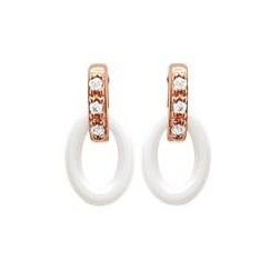 Boucles d'oreilles céramique, or rose, zircon - Ovale