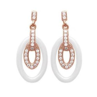 Boucles d'oreilles céramique, rose doré, zircon pour femme, Lumia