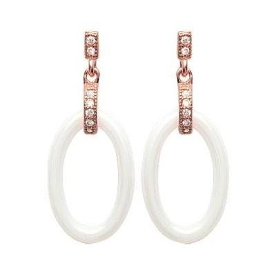 Boucles d'oreilles céramique blanche, or rose, oz - Ella