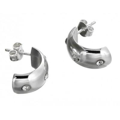 Boucles d'oreilles mode femme LZ - demi -créoles argent - cristaux de Swarovski