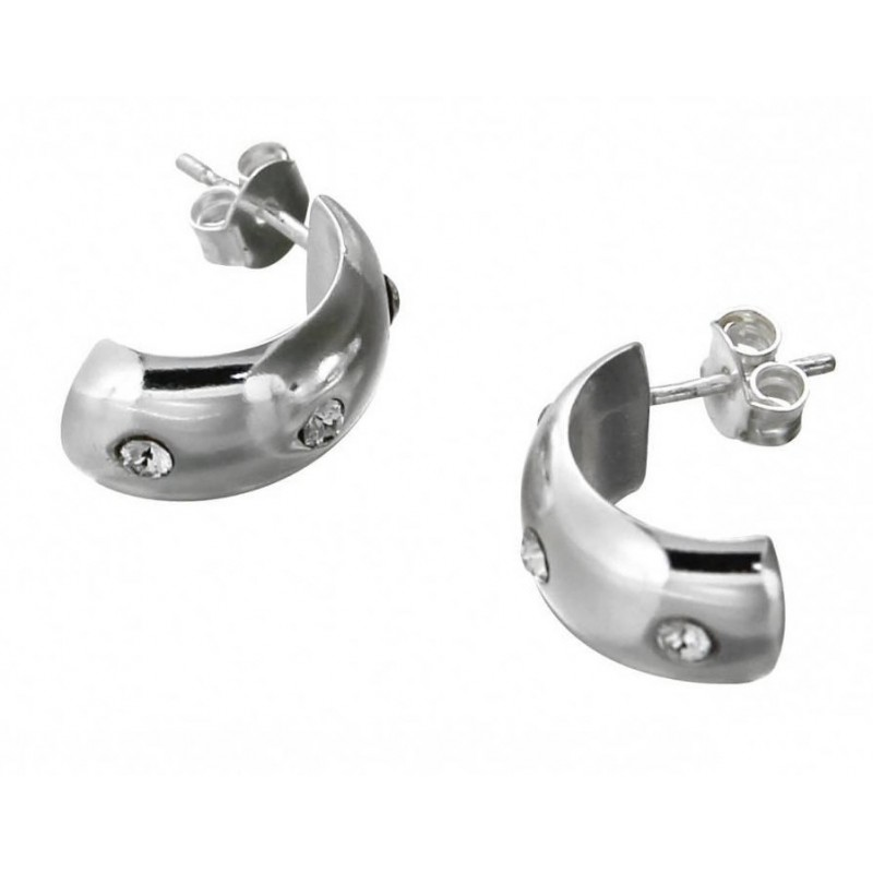 Boucles d'oreilles LZ, demi-créoles argent, cristaux de Swarovski