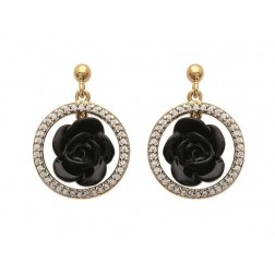 Boucles d'oreilles, rose en céramique noire - Constance