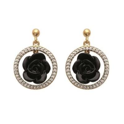Boucles d'oreilles en forme de rose noire en céramique, Constance