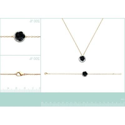 Bracelet, rose noire en céramique, Constance