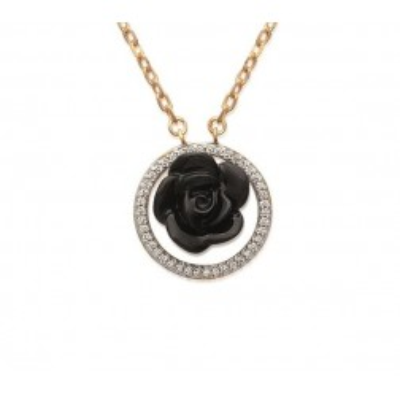Collier, rose noire en pour femme en céramique, Constance