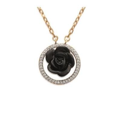 Collier, rose noire en céramique - Constance