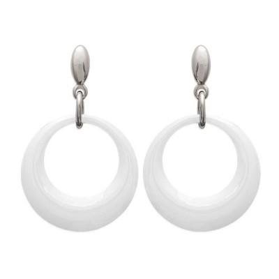 Boucles d'oreilles blanches en céramique et acier, Krya