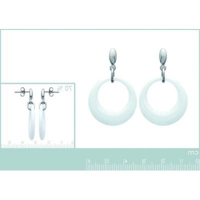 Boucles d'oreilles céramique blanche et acier pour femme, Krya