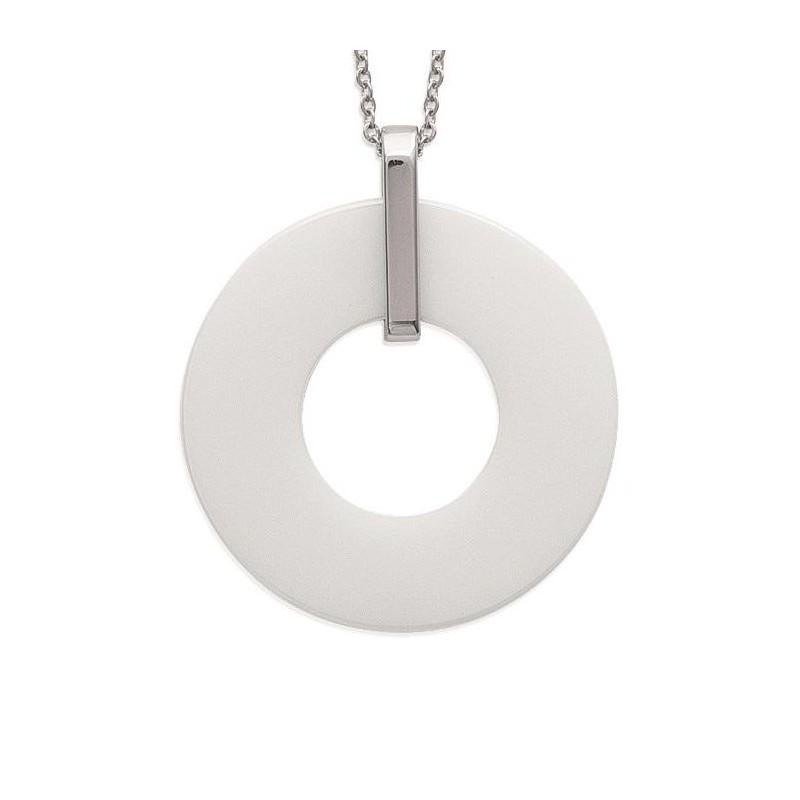 Collier céramique blanche et acier pour femme - Piano - Lyn&Or Bijoux