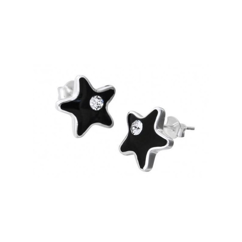 Boucles d'oreilles LZ, Etoile résine noire, cristal de Swarovski