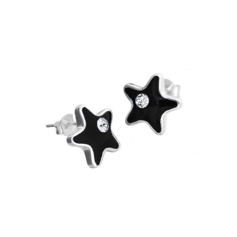 Boucles d'oreilles argent, Swarovski pour femme - Etoile Noire - Lyn&Or Bijoux