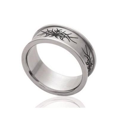 Bague femme, anneau ethnique en acier gravé - Kopa - Lyn&Or Bijoux