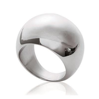 Grosse bague pour femme en acier gris - Gaudron - Lyn&Or Bijoux