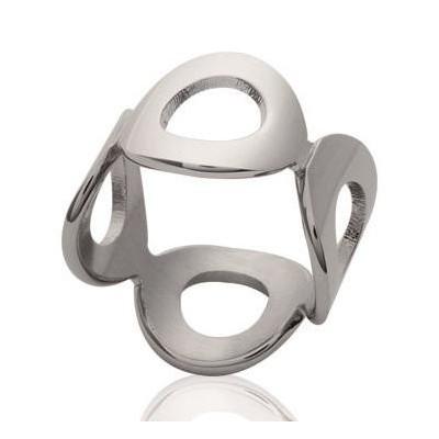 Bague pour femme en acier gris hypoallergénique - Ronde - Lyn&Or Bijoux