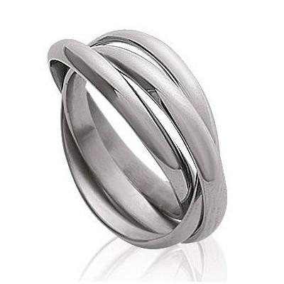 Alliance femme & homme en acier, 3 anneaux - Teck - Lyn&Or Bijoux