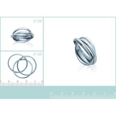 Bague trois anneaux en acier inoxydable, unisexe