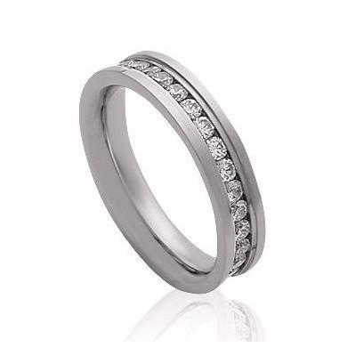 Bague femme, anneau en acier gris & Zircon blanc - Allya - Lyn&Or Bijoux