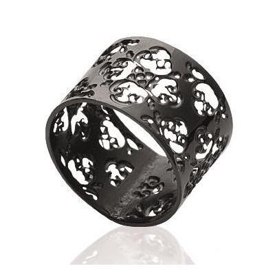 Bague pour femme, large anneau noir en acier - Cynthia - Lyn&Or Bijoux