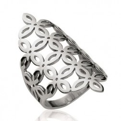 Grosse bague pour femme en acier gris, motif floral - Liana - Lyn&Or Bijoux