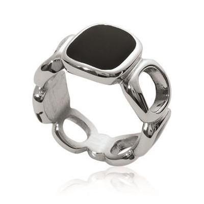 Bague pour femme en acier gris et émail noir - Kanda - Lyn&Or Bijoux