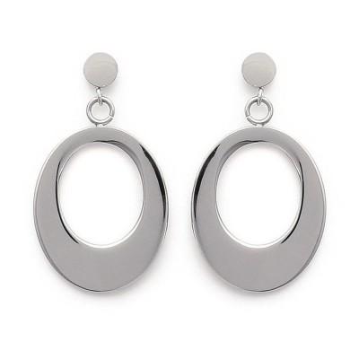 Boucles d'oreille femme, pendants ovales en acier - Attirance - Lyn&Or Bijoux