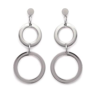 Boucles d'oreille pendantes en acier - Alliage - Lyn&Or Bijoux