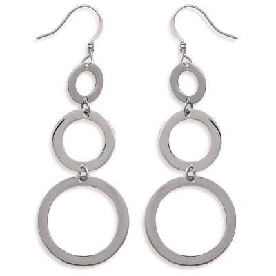 Boucles d'oreille pendantes en acier pour femme - Erine - Lyn&Or Bijoux