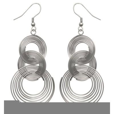 Boucles d'oreilles tendance en acier gris pour femme, Sol