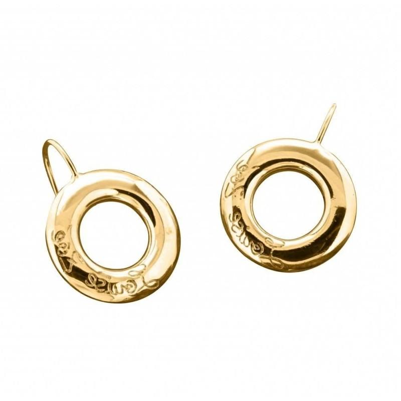 Boucles d'oreilles LZ, cercles Griffées plaqué or