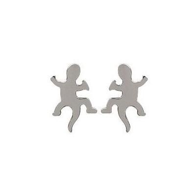 Boucles d'oreille enfant en acier pour femme - Salamandre - Lyn&Or Bijoux