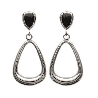 Boucles d'oreilles en acier et émail noir pour femme, Katou