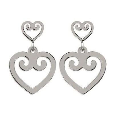 Boucles d'oreille femme, coeur pendant en acier - Mambo - Lyn&Or Bijoux