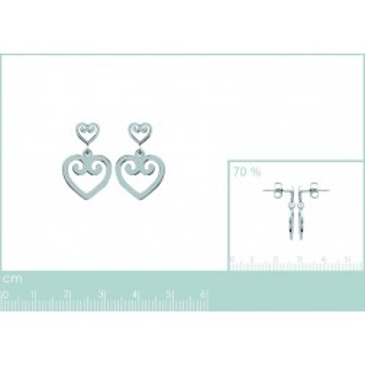Boucles d'oreilles coeur en acier, Mambo