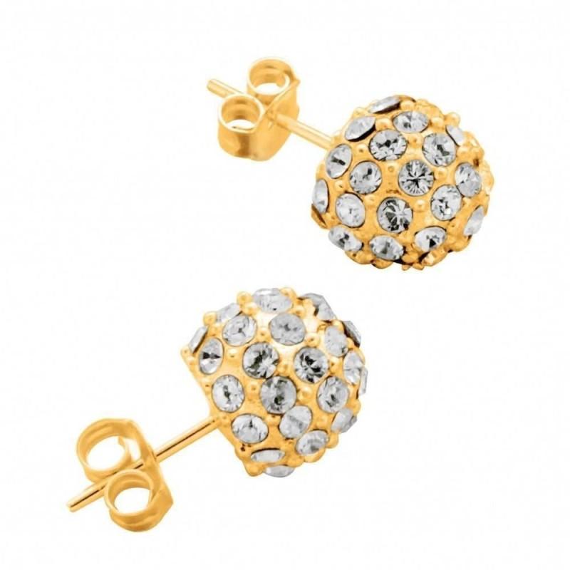 Boucles d'oreilles LZ, Boules plaqué or, cristal de Swarovski