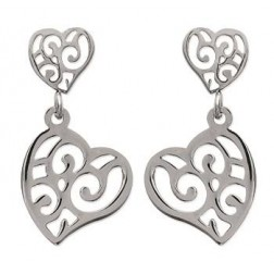 Boucles d'oreilles coeur en acier pour femme, Valentine