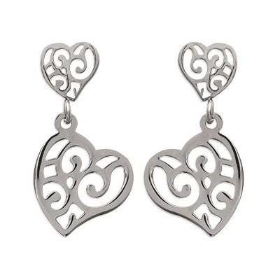 Boucles d'oreille coeur pendant pour femme en acier - Valentine - Lyn&Or Bijoux