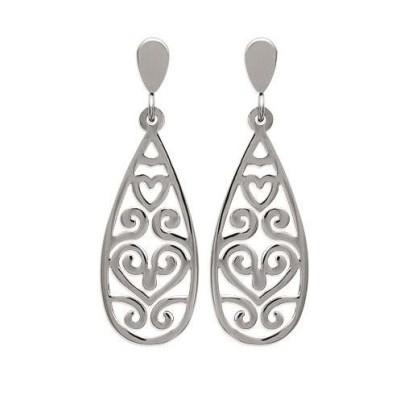 Boucles d'oreilles tendance en acier gris pour femme, Inès