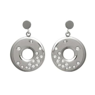 Boucles d'oreilles originales en acier et Zircon - Lilou - Lyn&Or Bijoux