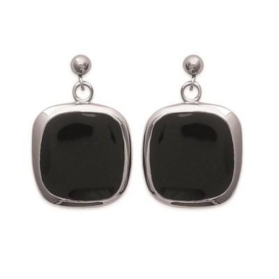 Boucles d'oreille femme, carrés en acier et émail noir - Luna - Lyn&Or Bijoux
