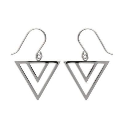 Boucles d'oreilles triangle pour femme en acier, Laila
