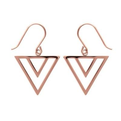Boucles d'oreilles en forme de triangles, acier rose, Laila