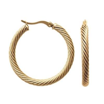 Boucles d'oreilles créoles en acier doré 38 mm - Laure