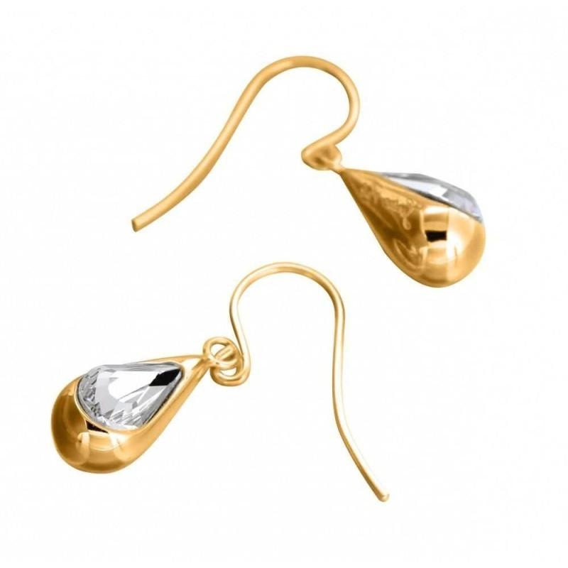 Boucles d'oreilles Swarovski , finition dorée pour femme - Gouttes - Lyn&Or Bijoux