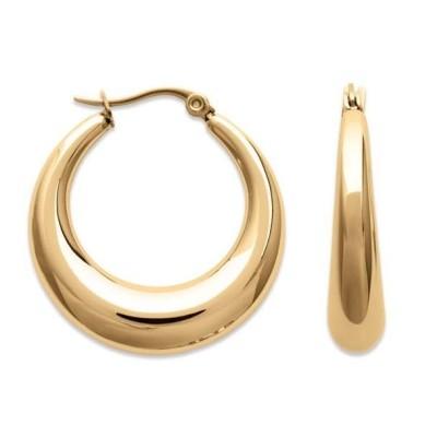 Boucles d'oreilles créoles en acier doré pour femme, Légèreté