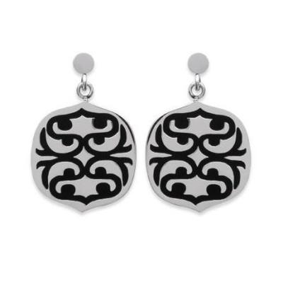 Boucles d'oreille femme en acier et motif noir - Evolution - Lyn&Or Bijoux