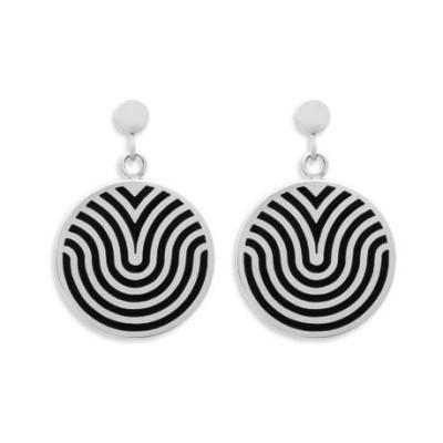 Boucles d'oreilles en acier et émail noir - Tigra