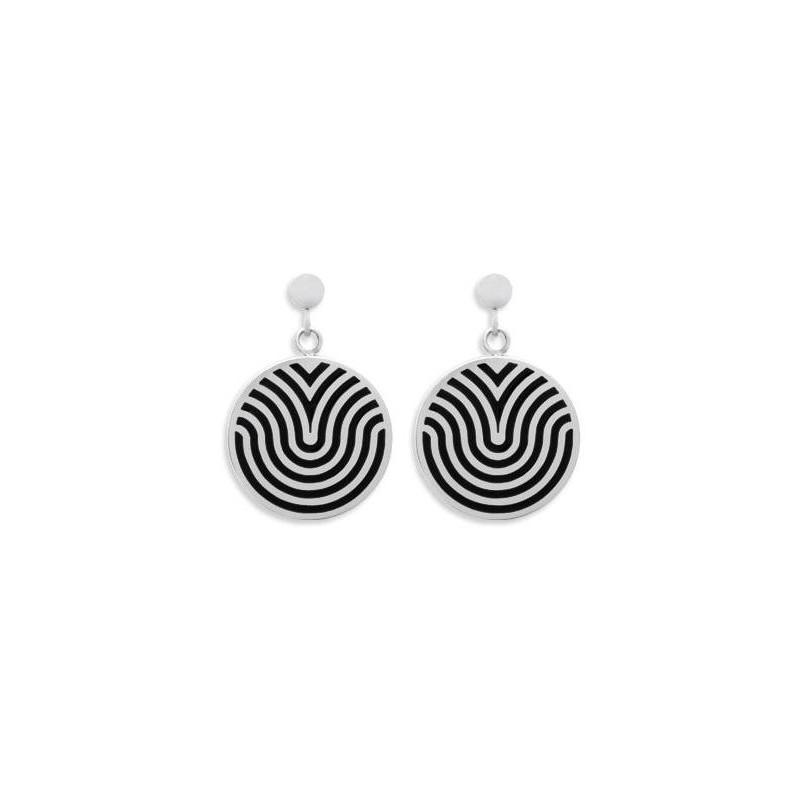 Boucles d'oreilles en acier et émail noir pour femme, Tigra