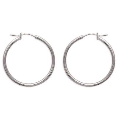Créoles femme en acier gris inoxydable 30 mm - Salamanca - Lyn&Or Bijoux