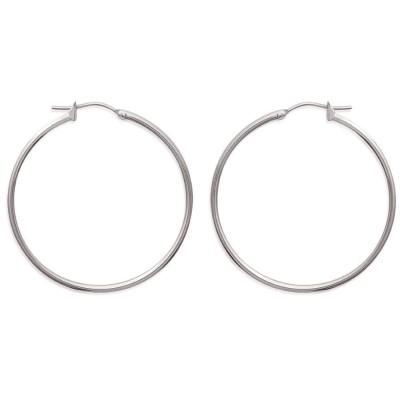 Créoles pour femme en acier gris, diamètre 40 mm - Salamanca - Lyn&Or Bijoux